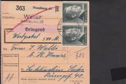 A17  /    Deutsches Reich 799 MEF Paketkarte  Hamburg  - Lichtenstein 1942 Paar - Brieven En Documenten