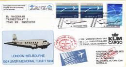 """Nederland - Bijzondere Vlucht 18-12-1983 Amsterdam - Melbourne - Herdenkingsvlucht """"UIVER"""" 1934 - 1984 - Postal History"""