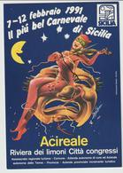 Carnevale Di Acireale 1991.cartolina Ufficiale Con Programma Al Verso - Carnaval