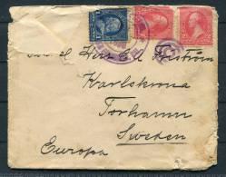 1898 USA Philippines Singapore Sweden - Torhamn Karlskrona Military Cover - Philippines
