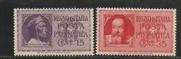 ITALIA - 1933 POSTA PNEUMATICA - DANTE - GALILEO - Yvert # 14/15 - ** MINT NH - Poste Pneumatique