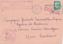 Lettre Griffe BASE TRANSIT INTERARMÉES ATLANTIQUE MANCHE LA ROCHELLE CHARENTE MARITIME - Postmark Collection (Covers)