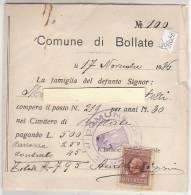PO9108B# FATTURA CIMITERO COMUNE DI BOLLATE 1936 - MARCA DA BOLLO - FISCALI REGNO - Italia