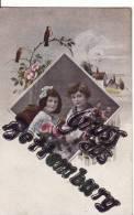 Carte Postale Fantaisie De BETTEMBOURG-Souvenir-Gruss Aus..Enfant-Oiseau-Carte Avec Paillettes Collées- - Bettembourg