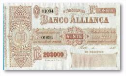 PORTUGAL ★ 20 000 Réis ★ 20$000 Rs ★ Pick S 142 - UNC. - BANCO ALLIANÇA ( ALIANÇA )  ★ See Scans - Portugal