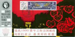 126 Carte Officielle Exposition Internationale Exhibition Hong Kong 1995 FDC Chinese New Year Of The Pig Année Cochon - Astrología