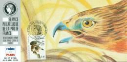 128 Carte Officielle Exposition Internationale Exhibition Paris 1995 FDC Audubon Buse Pattue Rapace Bird Vogel Adler - Aigles & Rapaces Diurnes