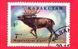 KAZAKISTAN  - 1994 - USATO - Animali Preistorici - MEGALOCEROS  - 7 - Kazakhstan