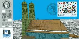 130 Carte Officielle Exposition Internationale Exhibition München 1995 FDC Baselitz Tableau Münchner Dom Kirche Church - Esposizioni Filateliche