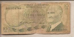 Turchia - Banconota Circolata Da 10 Lire - Turchia