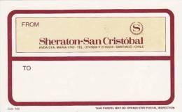 CHILE SANTIAGO SHERATON SAN CRISTOBAL VINTAGE LUGGAGE LABEL - Hotel Labels