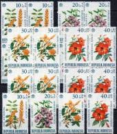 Naturschutz Blumen 1966 Hibiskus Indonesien 503/6 Plus 4x4Block ** 22€ Nature Bloc Flower Sheet Rose M/s Bf Of Indonesia - Indonesien