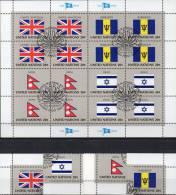 UNO Kleinbogen Flaggen IV 1983 New York 422/5 Plus 16-KB O 6€ UK Britaine BARBADOS NEPAL ISRAEL Bf Flag Sheet M/s UN NY - UNO