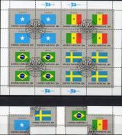 UNO Kleinbogen Flaggen IV 1983 New York 434/7 Plus 16-KB O 6€ SOMALIA SENEGAL BRAZIL SWEDEN Bf Flags Sheet M/s Of UN NY - UNO