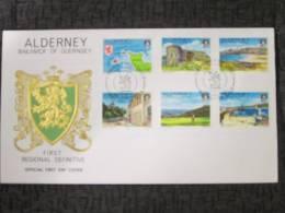 ALDERNEY FIRST REGIONAL DEFINITIVE FDC X2 - Alderney