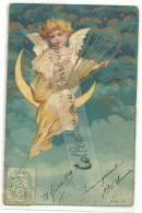 CPA Ange Sur Croissant De Lune, Lyre,joli Angelot Dans Nuages, Dorure,18 Février 1904 - Engel