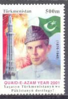 2001. Turkmenistan, Quaid-e-Azam, 1v, Mint/** - Turkmenistan