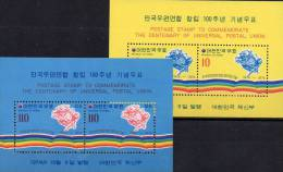 100Jahre UPU 1974 Korea Block 391/2 ** 26€ Weltpostverein Emblem Erde Regenbogen-Farben Bf M/s Bloc Sheet Of South Corea - Korea, South