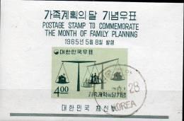 Familien-Plan 1965 Waage Korea Block 205 O 5€ Wohnung + Zahl Der Kinder Bf M/s Space Bloc Sciences Sheet Of South-Corea - Korea, South