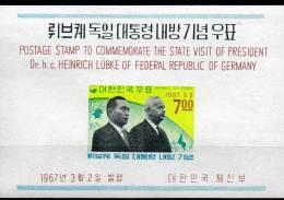 Präsident Germany 1967 In Korea Block 247 ** 6€ Erdkugel Asien Europa Bf M/s Flag Bloc Cooperation Sheet Of South-Corea - Korea, South