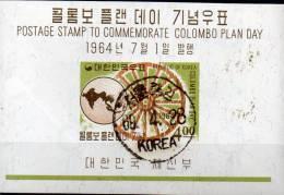 Colombo-Rad 1964 Korea Block 191 O 7€ Zusammenarbeit Im Pacifik Bf M/s Map Pacific Bloc Cooperation Sheet Of South-Corea - Korea, South