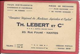44     NANTES     TH  LEBERT  & Cie COMPTOIR REGIONAL DE MACHINES AGRICOLES ET CYCLES  20 RUE  FOURE - Nantes