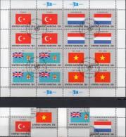 Kleinbogen Flaggen I 1980 UNO New York 348/1 Plus 16-KB O 5€ TURKEY FIJI LUXEMBOURG VIET NAM Bf M/s Flag Sheet Of UN NY - UNO