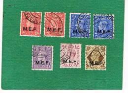 ITALIA - OCCUP. MILITARI COLONIE -  UNIF. 6.16 - 1943  EMISSIONI GENERALI M.E.F: 7 VALORI ANCHE RIPETUTI       -   USATI - Britische Bes. MeF