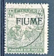 Fiume 1918-19 Francobollo D'Ungheria Del 1916-17 - N. 13, F. 40 Oliva USATO Cat. € 110 - Fiume