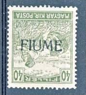 Fiume 1918-19 VARIETA' Bollo D'Ungheria Del 1916-17 N. 13a - F. 40 Oliva Soprastampa Rovesciata MH Firma WOLF Cat € 600 - Fiume