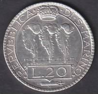 Repubblica San Marino -  1933 - L. 20  - BB + +. - Saint-Marin