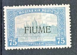 Fiume 1918-19 Francobollo D'Ungheria Del 1916-17 SS 2 N. 15 F 75 Celeste E Celeste Chiaro MNH - Fiume