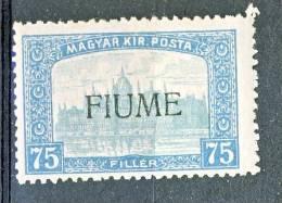 Fiume 1918-19 Francobollo D'Ungheria Del 1916-17 - N. 15  F 75 Celeste E Celeste Chiaro MNH - Fiume