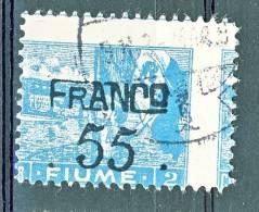 Fiume 1919 SS. 13 VARIETA' N. B4 55 Su 2c Cobalto USATO Dentellatura Fortemente Spostata, Carta Lucida - Fiume
