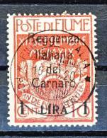 Fiume 1919 SS. 20 N 143 Lire 1 Su C. 10 Carminio Soprastampato 'Reggenza Italiana Del Carnaro'  USATO - Fiume