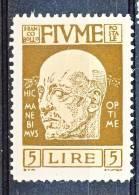 Fiume 1920 Effige Di D'Annunzio SS 16 N. 125 Lire 5 Bruno Bistro MNG - Fiume