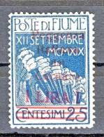 Fiume 1920 N.148 Lire 1 Su C. 25 Azzurro Sovrastampa Rossa Reggenza Italiana Del Carnaro MLH Firme Varie Cat. € 550 - Fiume