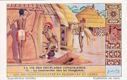 Liebig Vintage Tarde Card S1304 Life Among The Congolese People 1934 No 12 La Construction Chez Les Mangbetus - Liebig