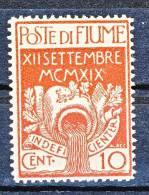 Fiume 1920 SS 18 Ingresso Dei Legionari A Fiume N. 128 C. 10 Carminio MNH - Fiume