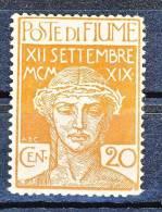 Fiume 1920 SS 18 Ingresso Dei Legionari A Fiume N. 129 C. 20 Ocra MNH Cat. € 175 - Fiume