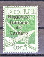 Fiume 1920 SS. 19 N 133 C. 5 Verde + N. 136 C. 15 Su C. 20 Ocra Soprastampati Reggenza Italiana Del Carnaro' MNH - Fiume