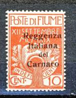Fiume 1920 N 134 C. 10 Carminio + N. 136 C. 15 Su C. 20 Ocra Soprastampa Reggenza Italiana Del Carnaro MNH Cat € 100 - Fiume