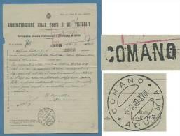 STORIA POSTALE TOSCANA - COMANO Lineare + COMANO / APUANIA  SU - MOD.N.116  DOMANDA INFORMAZIONI - 1900-44 Vittorio Emanuele III