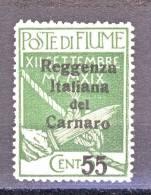 Fiume 1920 VARIETA DECALCO N 142 C. 55 Su 5 Verde Soprastampa Reggenza Italiana Del Carnaro MNH DCat. € 90 - Fiume