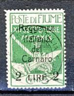 Fiume 1920  N 144 Lire 2 Su C. 5 Verde Soprastampa Reggenza Italiana Del Carnaro USATO Cat. € 50 - Fiume