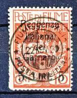 Fiume 1920 N 145 Lire 5 Su 10c Carminio Soprastampa Reggenza Italiana Del Carnaro USATO Firma BIONDI Cat. € 300 - Fiume