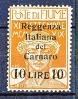 Fiume 1920 N 146 L. 10 Su C. 20 Ocra Sovrastampa Reggenza Italiana Del Carnaro MNH (Diena, BIONDI, SCOTTO) Cat. € 2225 - Fiume