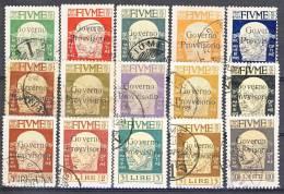 Fiume 1921 SS 20 Effige Di D'Annunzio Soprastampa Governo Provvisiorio N. 149 - 163 USATI Cat. € 725 - Fiume