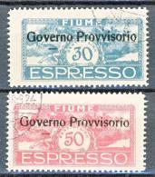 Fiume 1921 Espressi SS 36 Soprastampati Governo Provvisorio N. E5 - E6 USATI - Fiume
