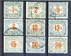 Fiume 1918-19 Tasse D'Ungheria Soprastampati N. 4 - 12 Verdi E Rossi USATI (alti Valori Firma A. Diena) Cat. € 2750 - Fiume